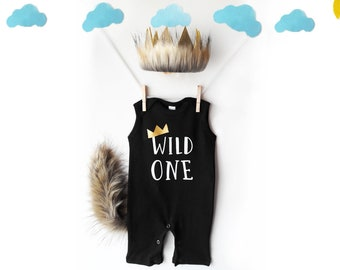 IDOPIP Baby Boy Girls Wild One Romper Jumpsuit Lion Costume Outfit with Tail and Crown