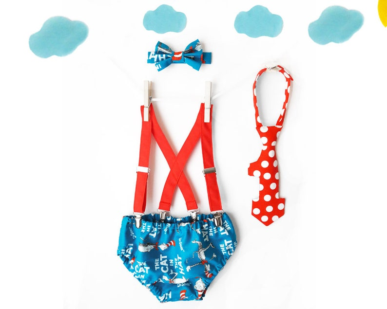 Cat In A Hat 1st Birthday Outfit Dr Seuss Cake Smash Boy Photo Prop Suspenders And Bow Tie