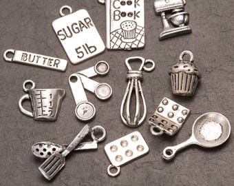 baking charms, pack of 5, metal charms, jewellery making, jewelry supply, craft supplies, cooking charms, kitchen charms, charm bracelet