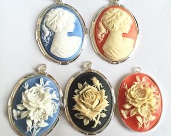 Faux cameo pendant, jewellery making, bead supplies, cameo pendants, silver plated bezel, jewellery design, statement jewelry suppiles