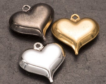 heart charm, pack of 10 plated hearts, puffed heart charm, jewellery making, charm jewellery, wholesale beads, bulk buy charms, sewing