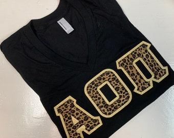 Sorority Greek American Apparel V-Neck Letter Shirt in Black w/Cheetah Print Letters