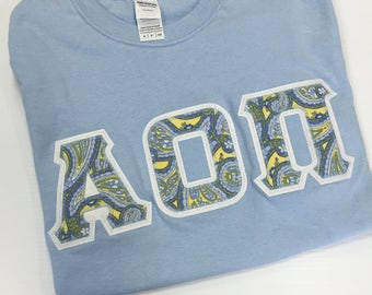 Sorority Greek Gildan Letter Shirt in Light Blue w/Paisley Letters