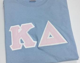 Sorority Greek Letter Shirt Light Blue w/Pink Seersucker Letters