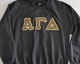 Sorority Greek Letter Sweatshirt Black with cheetah print fabric