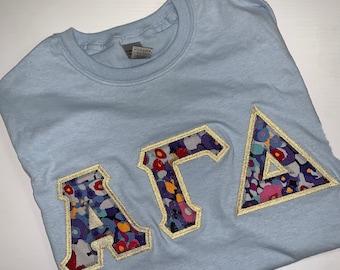 Sorority Greek Letter Shirt in Light Blue w/V10 Letters