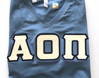 Sorority Greek Steel Blue V-neck Letter Shirt w/Cream Letters