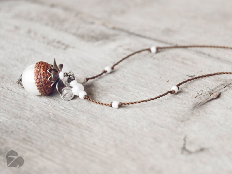 Wooden acorn necklace  real acorn with white pearl  fariy tale jewellery  nature lover gift