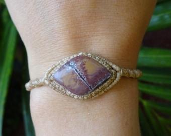 macrame bracelet with mexican jasper, macrame stone bracelet, jasper bracelet, micro macrame bracelet