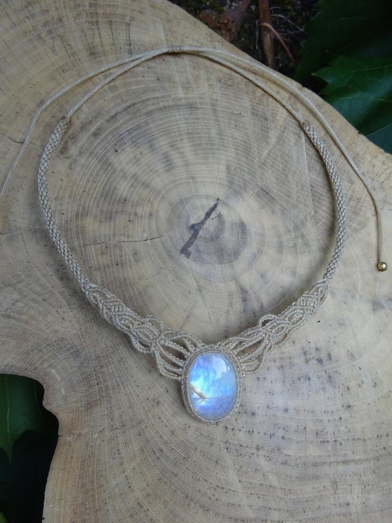 macrame boho necklace moonstone necklace micro macrame moonstone necklace first quality stone