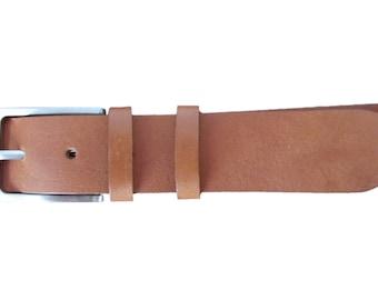 XXL 60 In LONG Handmade Italian Calfskin Leather Belt Brown Plain Cuir 3.5 cm \ 1.38 Inch WIDE
