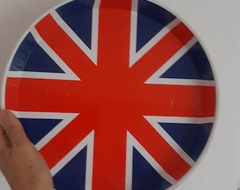 Vintage Tin Tray Round Union Jack Retro From The 1970s London Calling United Kingdom Mid Century Modern
