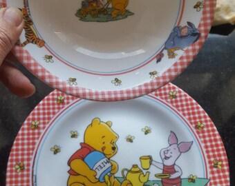 2 Disney Childrens plates Winnie the Phu Vintage by Arcopal France