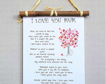 I Love You Mum Poem Print Mothers Day Gifts For Mom From Daughter Birthday Gift Son Mother Of The Bride Best Selling Items