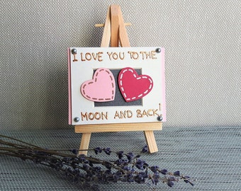 Mini Canvas Art - Love You to the Moon and Back - Cute Desk accessories - Romantic gifts for her - Girlfriend Birthday gift, Mother's Day