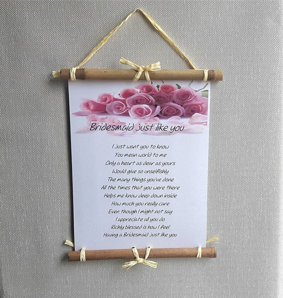 Bridesmaid Thank You Gift Ideas Personalized Wedding Poem To Bridesmaid From Bride And Groom Bridesmaid Poem Wedding Thank You Letter