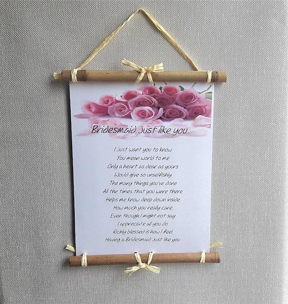 Bruidsmeisje Dank U Cadeau Ideeën Gepersonaliseerde Bruiloft Gedicht Om Bruidsmeisje Van Bruid En Bruidegom Bruidsmeisje Gedicht Bruiloft Dank U