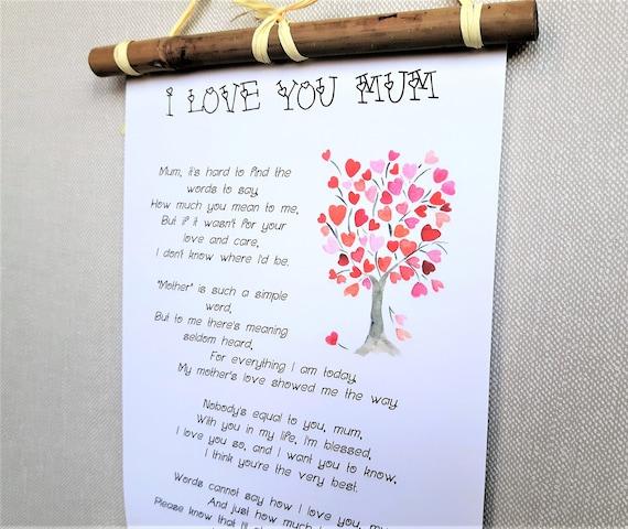 Je Taime Impression Poème Maman Cadeau De Noel Pour Maman De La Fille Cadeau Danniversaire De Maman De Fils Mère Du Cadeau De Mariée Articles