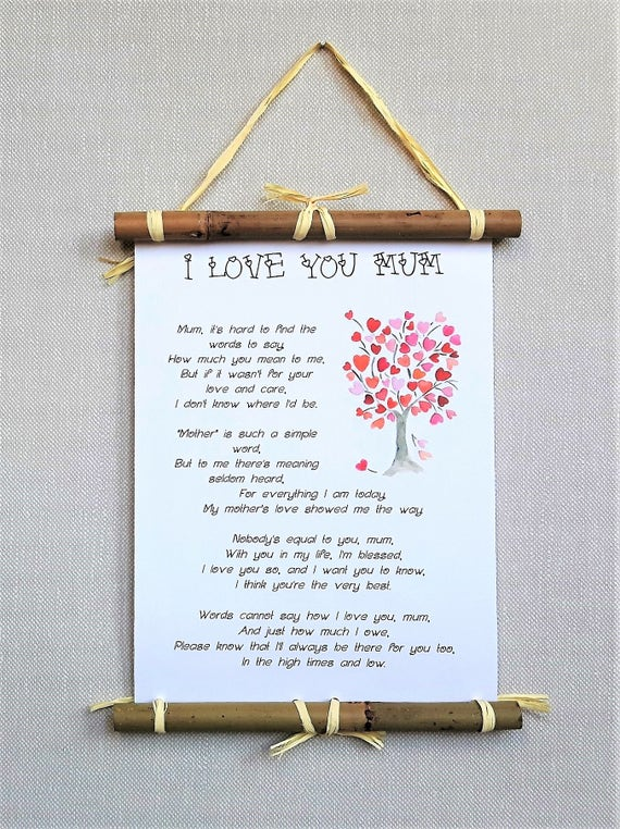 I love you Mum poem print, Mothers Day gifts for Mom from daughter, Mom  birthday gift from son, mother of the bride gift, best selling items