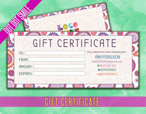 dot dot smile gift certificate business card personalized etsy