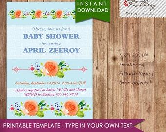 60% OFF SALE. Baby Shower Invitation, girl baby shower invite, baby shower