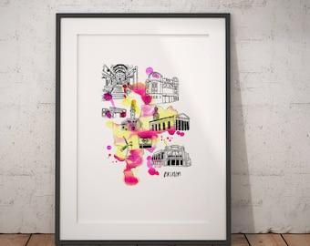 Brixton Art Print / London Illustration / London Art Print / Brixton Gift / South London / London Area Poster / Brixton Poster