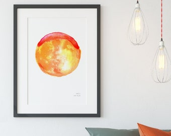 March - Sap Moon /  Art Print / Illustration / Giclée Print / Moon Print / Poster / Minimalist Artwork