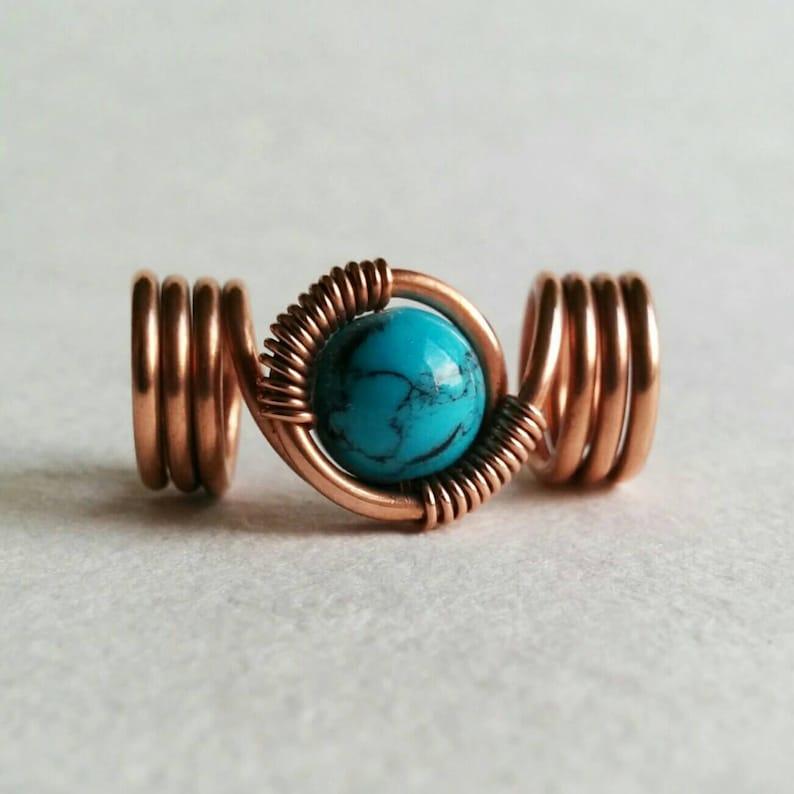 Loc jewelry copper dread beads turquoise dreadlock beads image 0