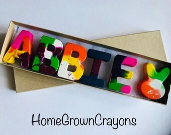RAINBOW CRAYONS // Kids NAME Crayons // birthday favor Crayon Set // Custom Alphabet Name Crayons in a Gift Box // class favors