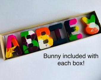 Easter Gift NAME Crayons for Kids // Easter Kids Crayon Set Gift // Personalized Alphabet Rainbow Crayons // Easter Basket // birthday