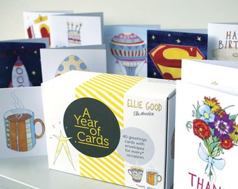 A YEAR OF CARDS Bumper Pack Of Greetings Cards Box For Every Occasion Mixed Gift Busy Mums Free Shipping