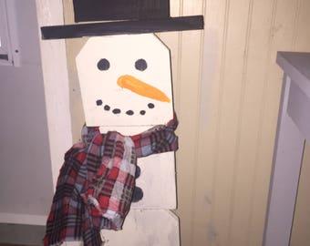 snowman wooden rustic diy