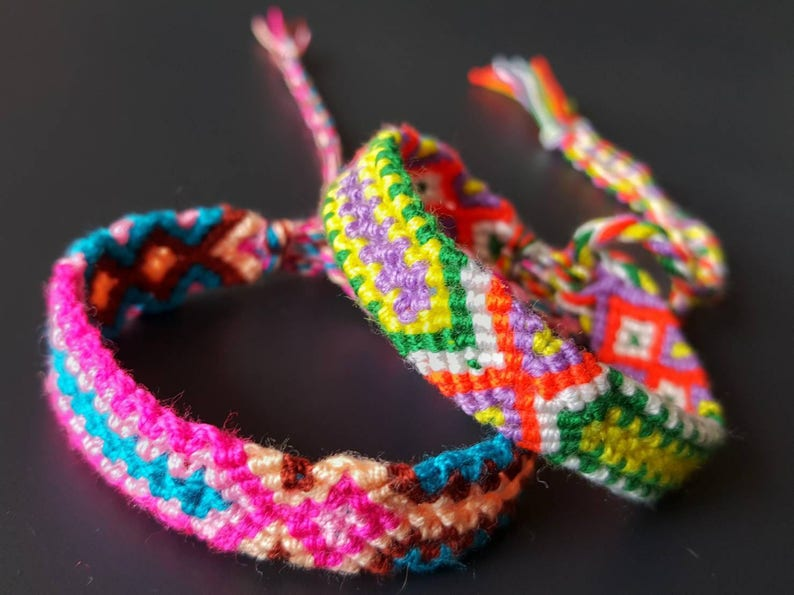 boho tribal hippie ethnic Set of 5 colorful friendship bracelets handmade by myself  Handmade friendship bracelets