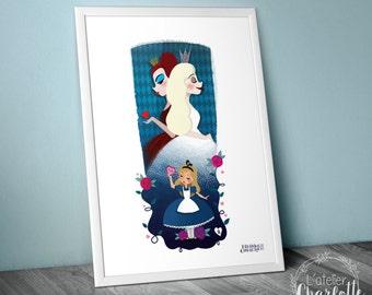 Poster A3 Alice in Wonderland - Illustration