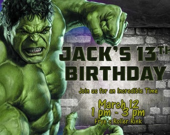 Incredible Hulk Party Invitation