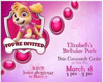 Paw Patrol Party Invitation