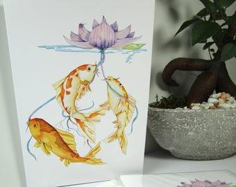 Koi greeting watercolor card blank 5x7 watercolor greeting cards