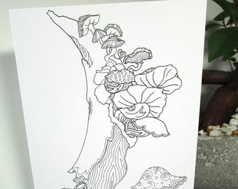 coloring card mushroom tree design 5x7 size greeting card