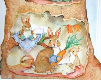 Cute bunny note card 5x7 greeting card design watercolor print 5 card pack