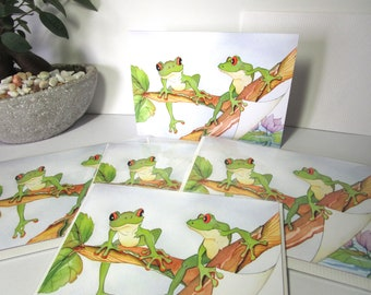 Cute,Frog, greeting card 5x7, watercolor printed cards, 5 card set, whimsical art