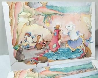 Snow White mouse card, greeting card,  everyday or birthday card, Fairytale art