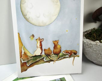cute mice  and moon watercolor card,   everyday or birthday cards, whimsical art