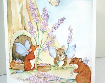 Cute mice greeting card watercolor print lavender and fairy mice everyday cards or birthday cards blank cards
