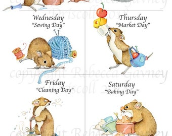 Cute mouse, mice, mouse illustration, week, days of week, poster,  chores, mouse print 13x19, unmated print