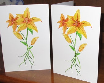 Watercolor Tiger Lily orange floral greeting card 5x7 summer floral card, ditch lilies