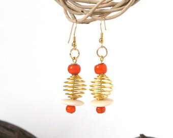 Earring, orange gold, glass bead, wood, without nickel