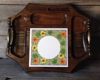 Vintage handled cheese tray with ceramic tile inlay