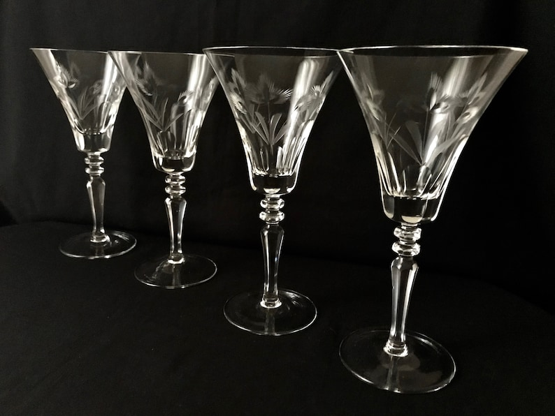 Vintage Etched Cut Crystal Wine Glasses Wine H Paneled Base Etsy