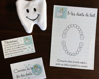 tooth fairy, tooth pouch, tooth fairy set, tooth loss table
