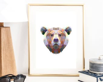 Geometric Abstract Poly Bear Color Print